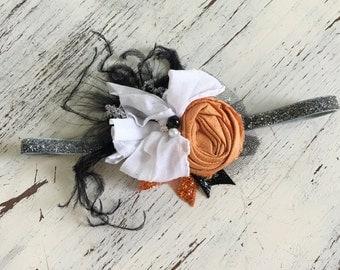 Halloween Headband-Baby Girl Headband- Baby Headbands- Fall Headband- Flower girl Headband- Newborn Headband