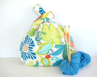 Large Knitting Tote Bag or Handbag, Japanese Knot Bag, Summer Tropical Lime, Turquoise, Orange Project Bag
