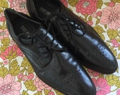 Vintage Stacy Adams Black Leather Oxfords Size 7.5 mens