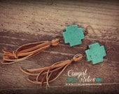 Rustic Western Earrings, Western Chic, Turquoise, Fringe, Deerskin Leather