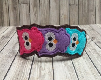 3 Stacked Owls Slider Headband Tiara Embroidered Metal Headband - Owl Headband - Girls Headband - Owl Felt Headband