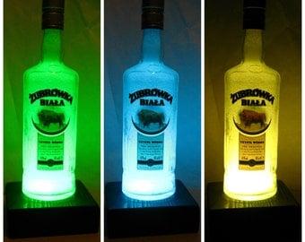 Zubrowka - Bison Grass polish vodka bottle light diamond effect LED remote control, color changing lamp, night lamp, bar, unique gift