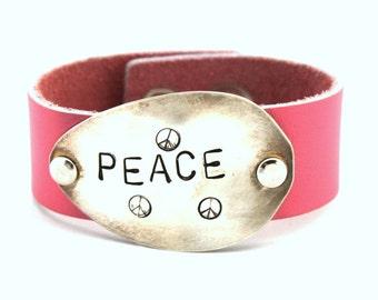 Spoon and Leather Cuff PEACE Bracelet w/ Hand Stamped Spoon - Spoon Bracelet Hand Stamped PINK LEATHER Bracelet