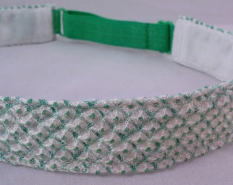 Adjustable non-slip Headband hairband made with vintage silk kimono fabric - green and white shibori