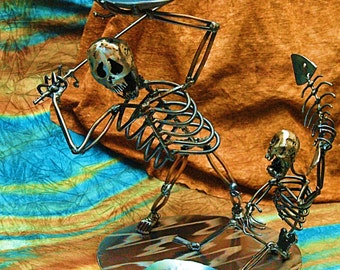 Father and Son, metal sculpture, skeleton figurine, family vacation gift, home and living metal sculpture, fathers love gift, fly fishing