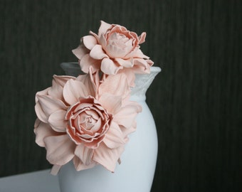 Pink Leather Roses Headband