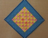 Pink and Yellow Checkerboard Miniature Doll Quilt *AnnMade* using antique fabrics