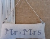 Wedding Ornament, gift, package decoration, Mr. and Mrs. cross stitch on antique homespun linen *AnnMade*