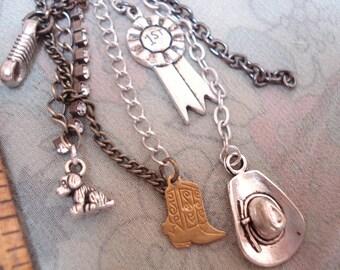 Purse jewelry Zipper Pull Pendant Cowgirl Rope Dog Boot Jewelry
