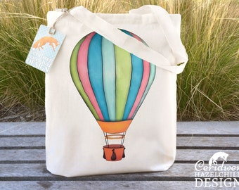 Hot Air Balloon Tote Bag, Ethically Produced Reusable Shopper Bag, Cotton Tote, Shopping Bag, Eco Tote Bag, Reusable Grocery Bag