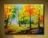 contemporary wall art,colorful tree, Modern Textured Painting, Palette Knife, Home Decor,wall art Painting acrylic art ON Canvas by Chen w49