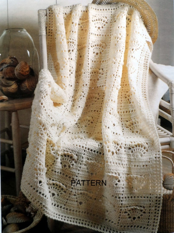Crochet Shell Afghan Pattern Adult Throw Blanket Lap Throw
