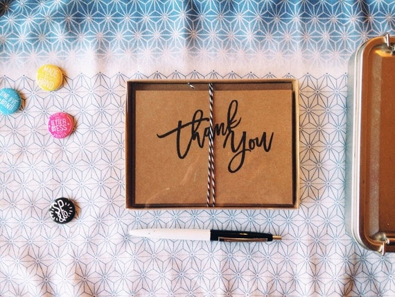 Thank You Card Boxed Set / 5 Cards - Risograph Printed on Kraft Paper with Envelopes