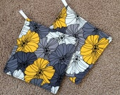 Two (2) Pot Holders - Gray, Yellow and White Flowers with Loops, Personalization Available