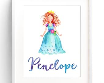 Custom Name Print Custom Watercolor Princess Nursery Print Baby Name Wall Art 8x10 11x14 12x16 Princess Nursery Wall Art