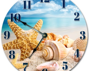 SEA SHELLS on BEACH Clock Sand Ocean Surf Clock Large 10.5 inch Clock Novelty Clocks Beach House Decor Wall Clocks Starfish Clock- 2003