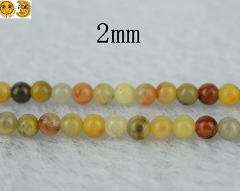15 inch strand of Crazy Lace Agate smooth round beads 2mm