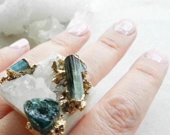 20% OFF SALE crystal quartz ring, statement ring, tourmaline ring, raw gemstone, gold ring, indicolite, paraiba blue, blue tourmaline, druzy
