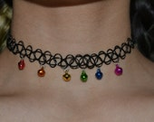 Tattoo Choker with Rainbow Bell Charms