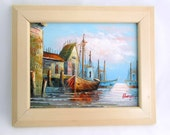 Sailboats in Harbor Original Oil Painting Palette Knife Colorful 10x12 Framed Seascape Boats Fishermen Fishing Boats Ocean Water Sailors