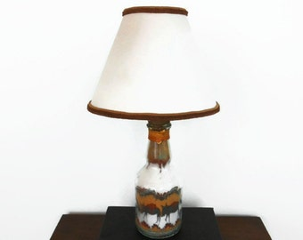 Sand Art Bottle Lamp with Shade, Southwestern, Pack Mule Train, Cactus Flowers