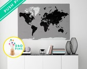 Custom Large World Map CANVAS Rustic Gray and Black - Countries, Capitals, USA and CANADA States - Personalized Gift Idea Pin It , 240 Pins
