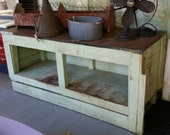 Antique Wooden Sales Counter with Metal Top, from old Flower Shop - Contact us for Shipping