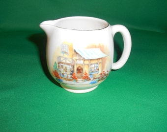 One (1), Vintage, Englishware, 6 oz Creamer, from Lancaster & Sandland, in the Posy Shop Pattern.