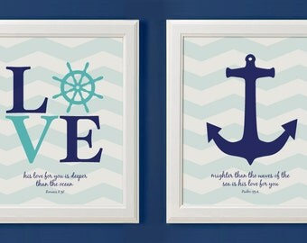 Nautical Anchor Christian Nursery Art Decor, Psalms 93 Bible Verse - Set Of Two Prints