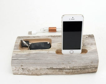 Docking Station for iPhone, iPhone dock, iPhone Charger, iPhone Charging Station, iPhone driftwood dock, wood iPhone dock/ Driftwood-No. 871
