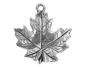 Danforth Maple Leaf 15/16 inch ( 24 mm ) Pewter Charm