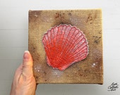 Seashell Art, Rustic Beach, Beach Cottage Decor, Burlap Embroidery, Coastal Wall Art, Shell Nautical Decor, Mixed Media Art, Beachy Bathroom