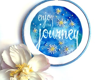 Enjoy the Journey French Country Wall Decor, Sky Blue Positive Inspiration Embroidery Hoop Art, Country Home Farmhouse Art, Daisy Wall Art
