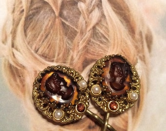 Decorative Hair Pins Vintage Cameo Goddess West Germany Bridal Wedding Hairpins Bobby Pins