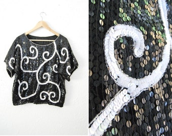 Vintage 90s Sequin Top Shirt Black White Trophy Glitter Blouse Womens Clothing / Party / 80s 1980s Eighties
