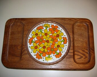 Vintage 1960's Goodwood Flower Power Teak and Tile Cheese Board