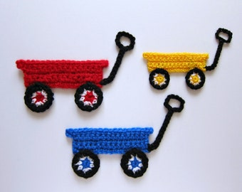 "1pc 6"" Crochet WAGON Applique"