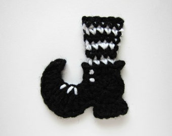 """1pc 4"""" Crochet Black n' White WITCH BOOT Applique"""