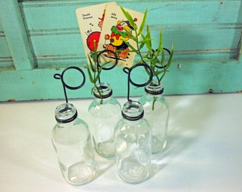 Labware Clear Soda Glass Bottle Bud Vases and Photo Holders Set of 4