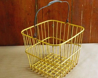 Vintage Square Yellow Wire Egg Basket