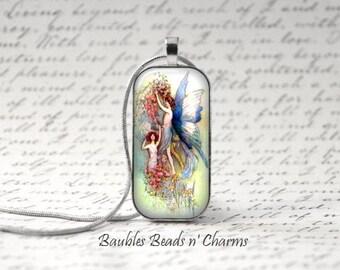 Fairy Faerie Necklace,  Fairy Faerie Jewelry, Domino Pendant Necklace, Fairy Art Glass Tile Necklace