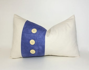 Button pillow cover. Periwinkle tonal print on natural colorblock lumbar. accent throw pillow, home decor accent