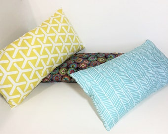Petite accent pillow.  Insert included.  Light blue herringbone print. Mini lumbar pillow. home decor accent pillows