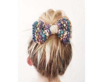 SALE - Knit Bow Clip - Purple Beige and Teal Large Knit Bow