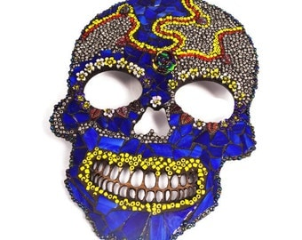 Day of the Dead, Mexican Art Skull, Wall Decor, Halloween Decor, Mosaic Day of the Dead Mask, Stained Glass Skull, Beaded Skull