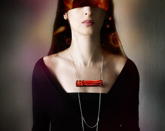 Сomet wooden chain necklace, red and purple faceted minimalist necklace, wood and chains jewelry