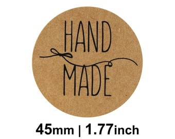 Hand Made Stickers / Labels - Kraft Round 45mm Circle (1.77 inches) - Pack of 24