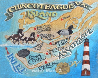 Chincoteague Island Virginia   Map style  Print