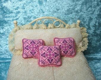 Cross stitch cushions, pillow miniature, shabby, romantic, handmade miniature - Dollhouses Miniature scale 1:12