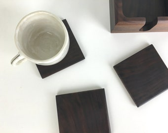 Modern Walnut Coaster Set